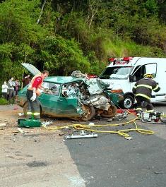 Acidente com quatro vítimas fatais na SC-466 em Itá
